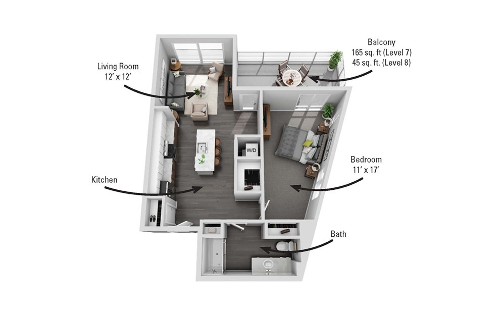 The Albany - 1 bedroom floorplan layout with 1 bath and 807 square feet.