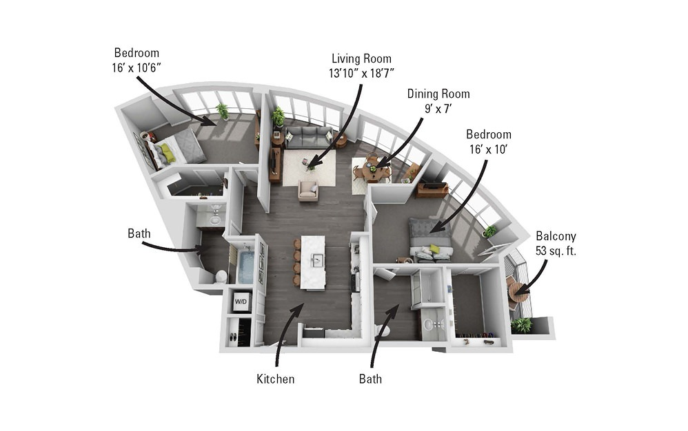 The Aurora - 2 bedroom floorplan layout with 2 baths and 1319 square feet.