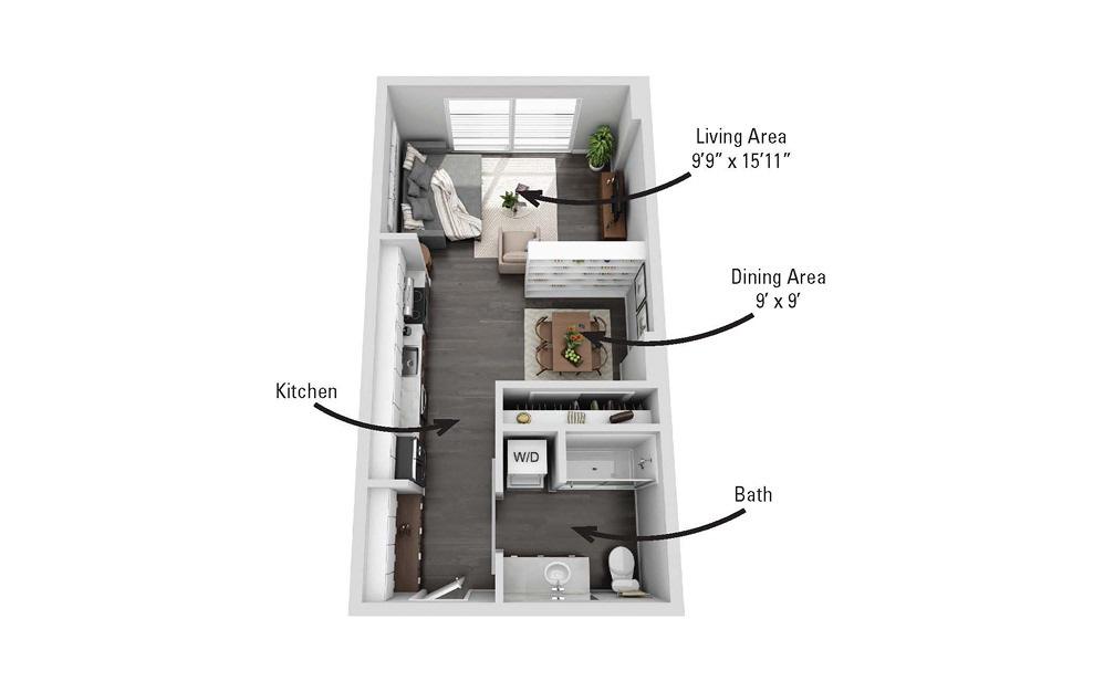 The Cayuga - Studio floorplan layout with 1 bath and 508 square feet.
