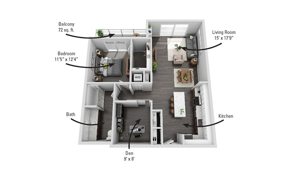 The Clinton - 1 bedroom floorplan layout with 1 bath and 936 square feet.