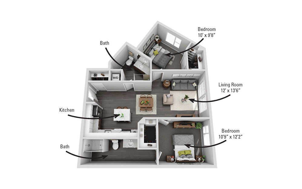 The Geneva - 2 bedroom floorplan layout with 2 baths and 969 square feet.