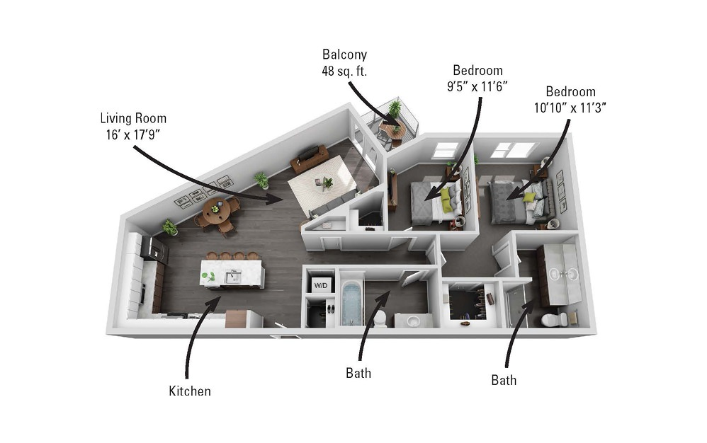 The Green - 2 bedroom floorplan layout with 2 baths and 1103 square feet.