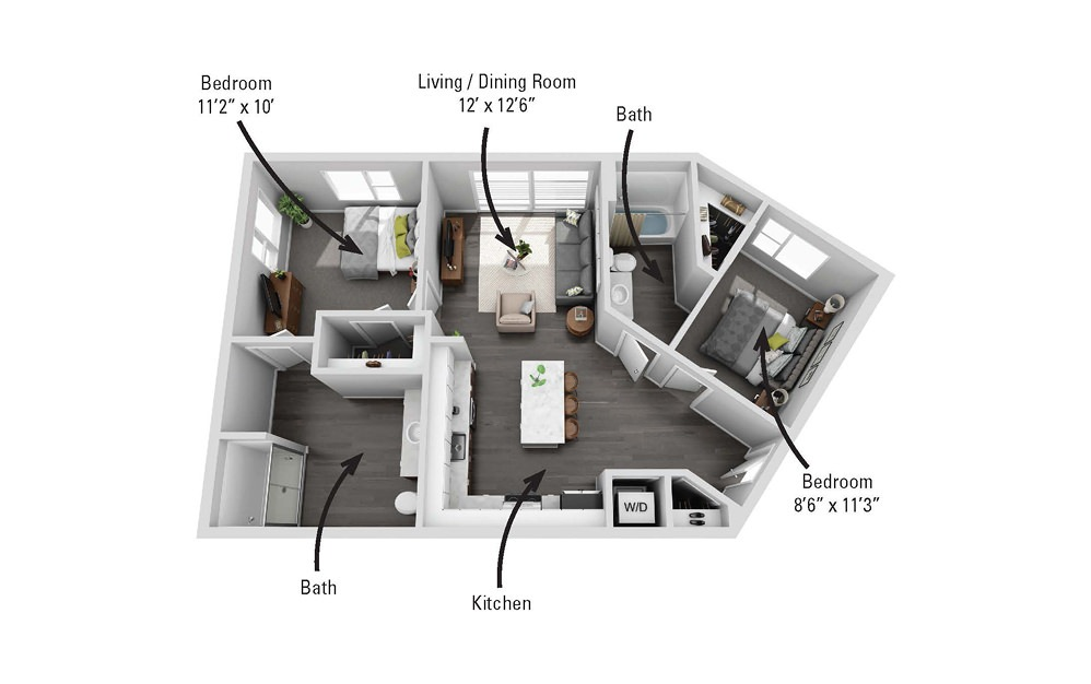 The Meadow - 2 bedroom floorplan layout with 2 baths and 866 square feet.
