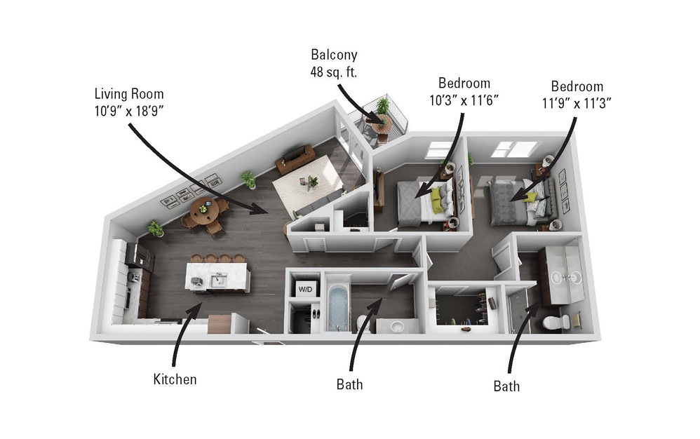 The Seneca - 2 bedroom floorplan layout with 2 baths and 1136 square feet.