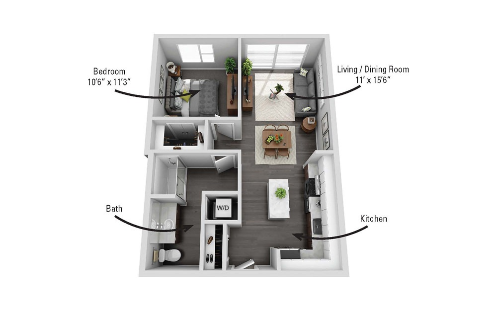 The State - 1 bedroom floorplan layout with 1 bath and 690 square feet.