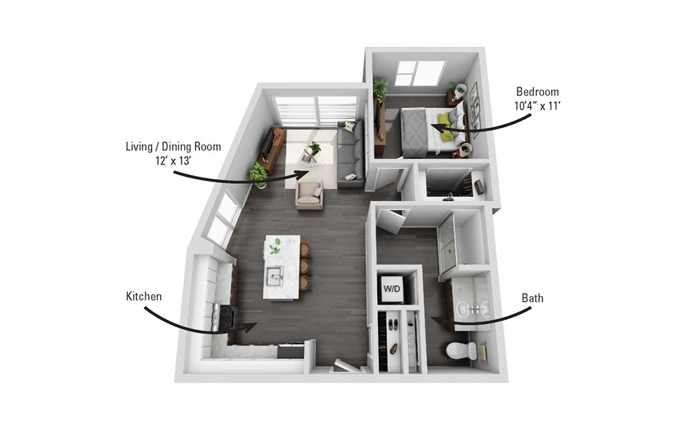 The Stewart - 1 bedroom floorplan layout with 1 bath and 725 square feet.