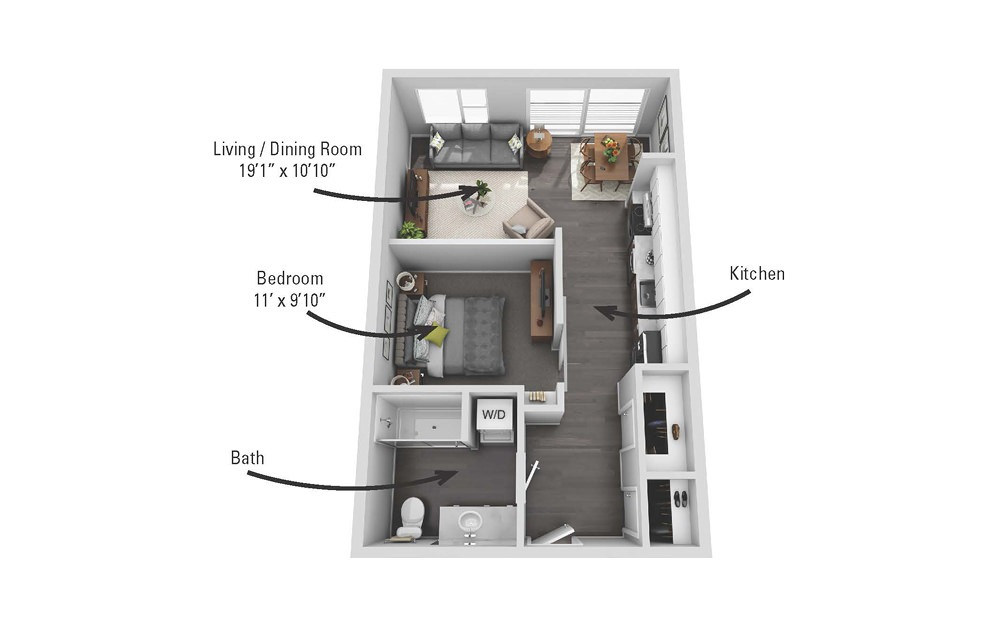 The Tioga - 1 bedroom floorplan layout with 1 bath and 606 square feet.